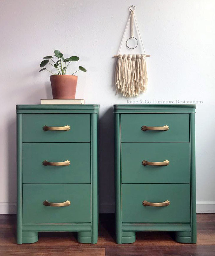Custom Mixed Green Art Deco Side Tables General Finishes