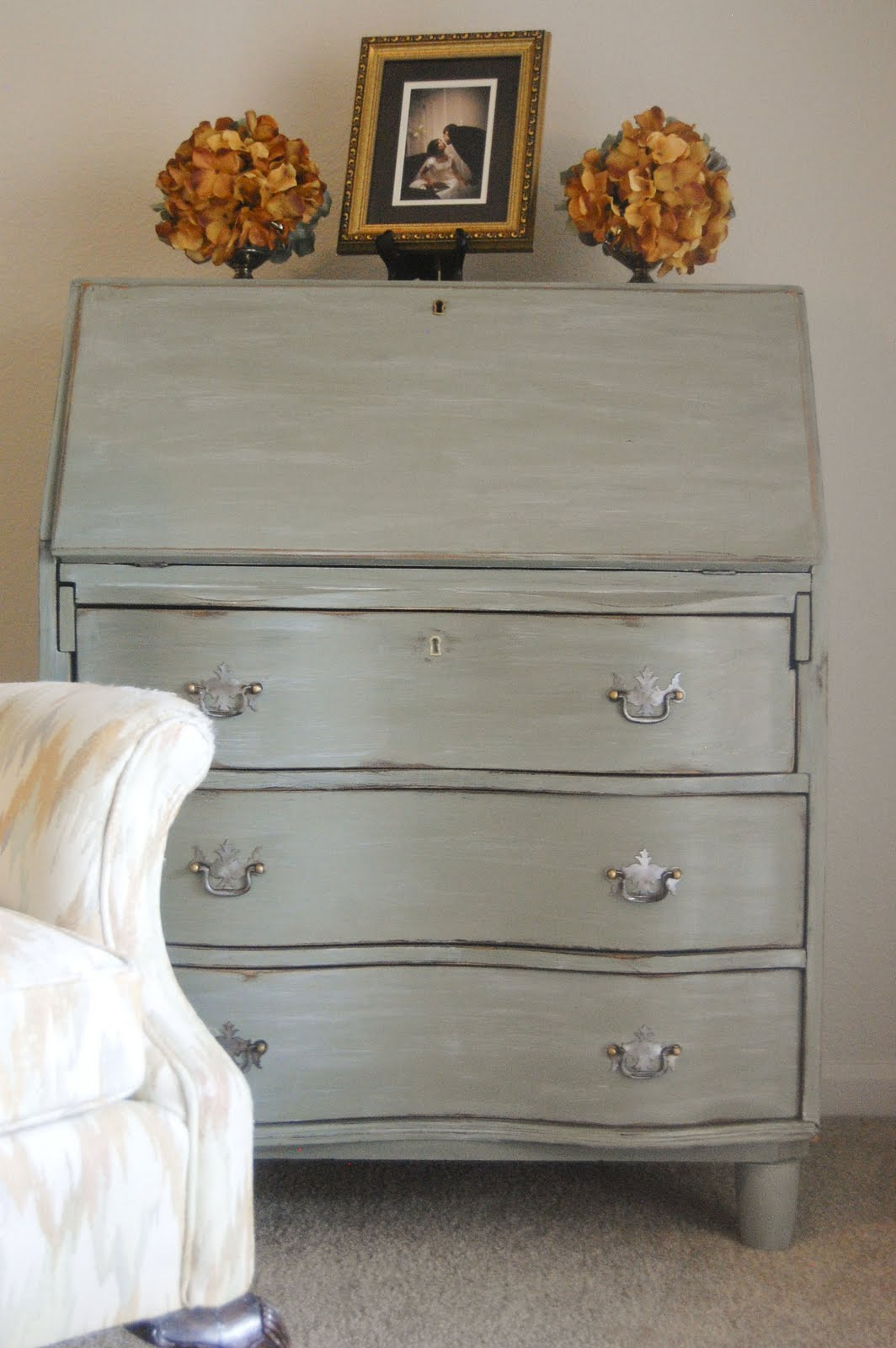 Secretary Desk In Basil Milk Paint Topped With Snow White