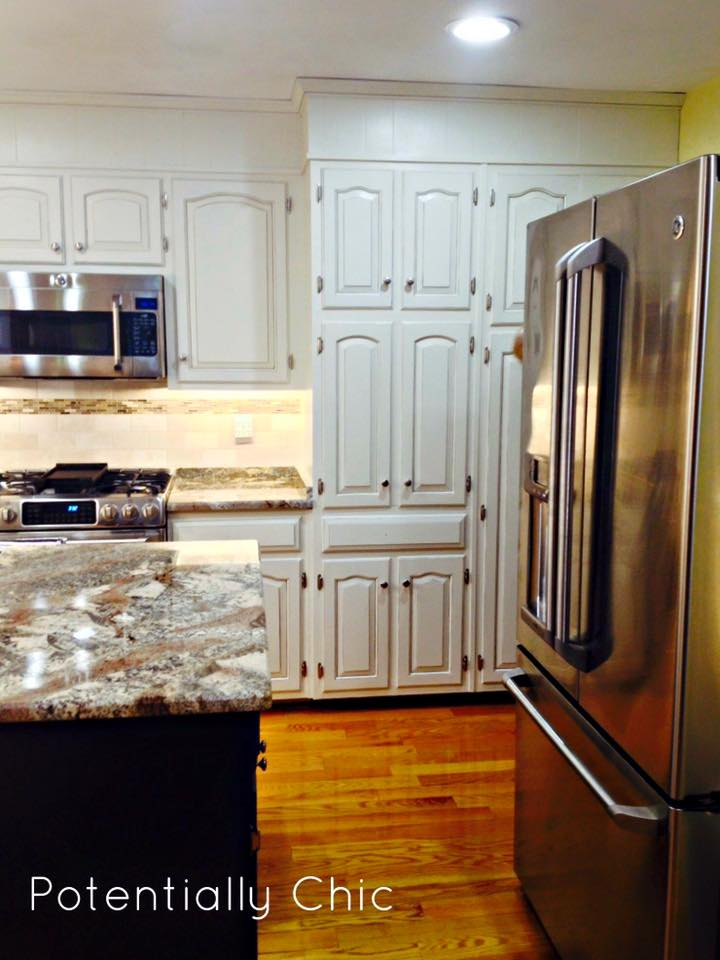 Kitchen makeover in antique white milk paint general for What finish paint for kitchen cabinets
