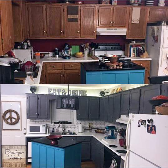 "Epoxy Paint Kitchen Cabinets Milk Paint Kitchen Cabinets: ""Carrara Marble"" Countertop With GF Milk Paint"