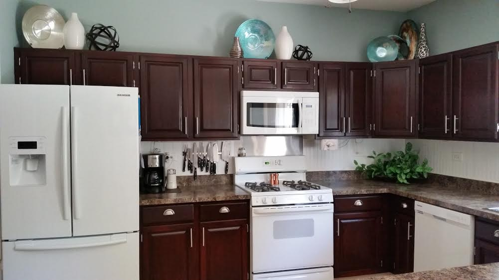 Custom Mixed Gel Stained Kitchen Cabinets