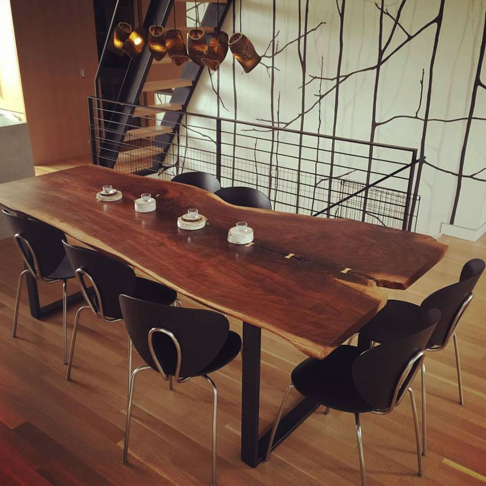 walnut slab table in armrseal  general finishes design