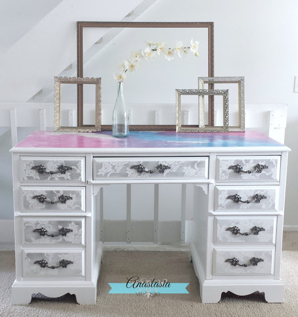 Beautiful Desk In Snow White Milk Paint Arm R Seal And Hptc Satin