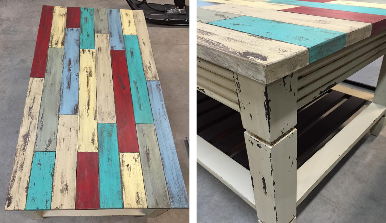 Table in Many Milk Paint Colors Distressed | General Finishes Design Center - Table In Many Milk Paint Colors Distressed General Finishes Design