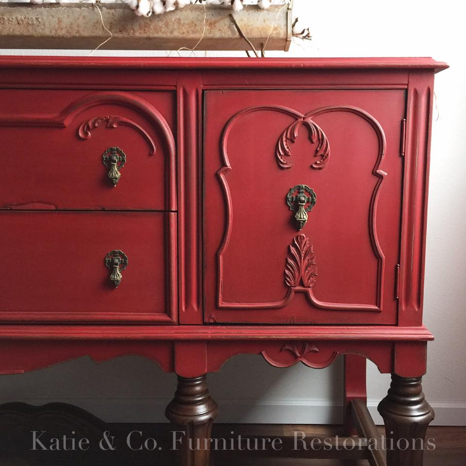 Red Paint With Black Glaze