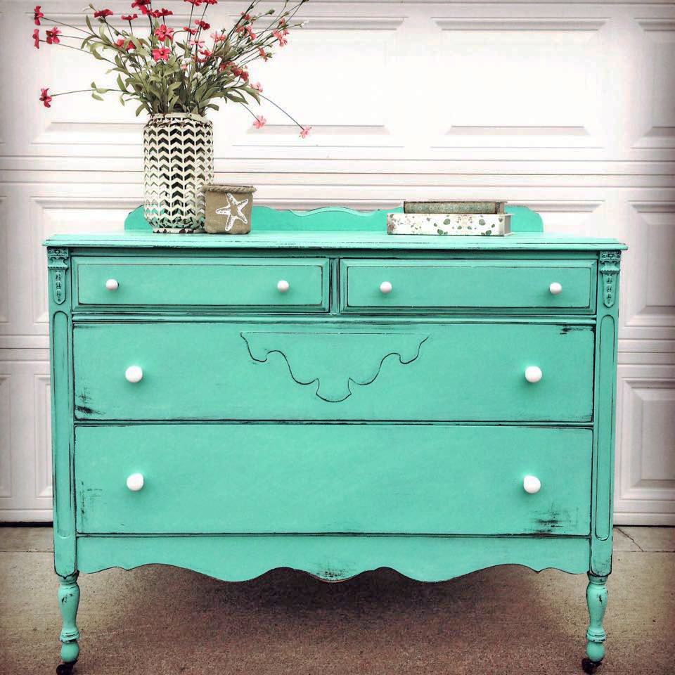 Custom Mixed Turquoise Dresser General Finishes Design
