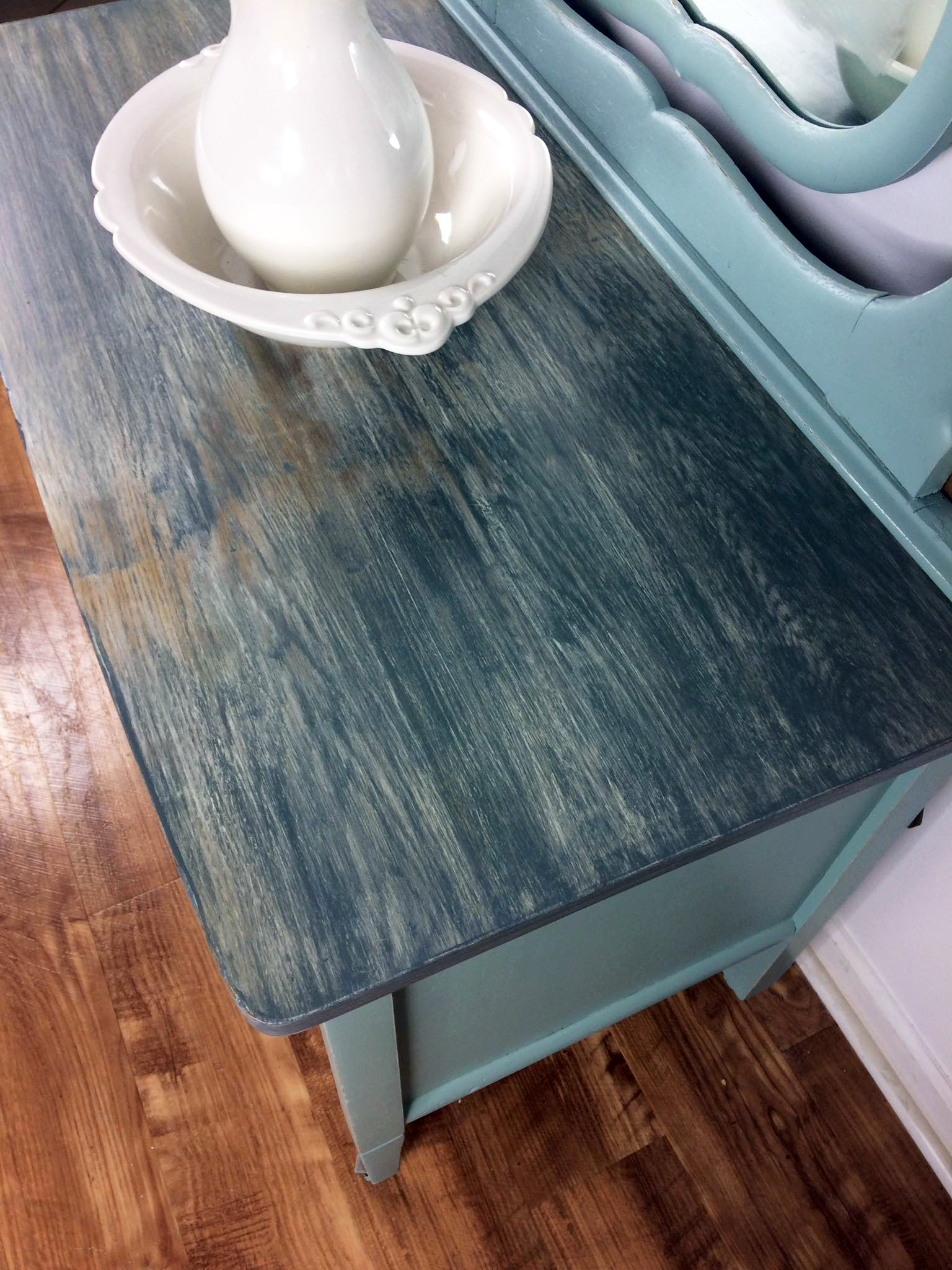 Persian Blue Dresser With Gray Weathered Top General