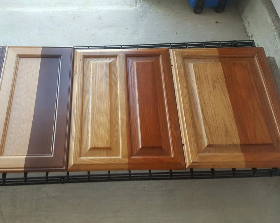 Water based stains over oak cabinets general finishes for Black stained cabinets