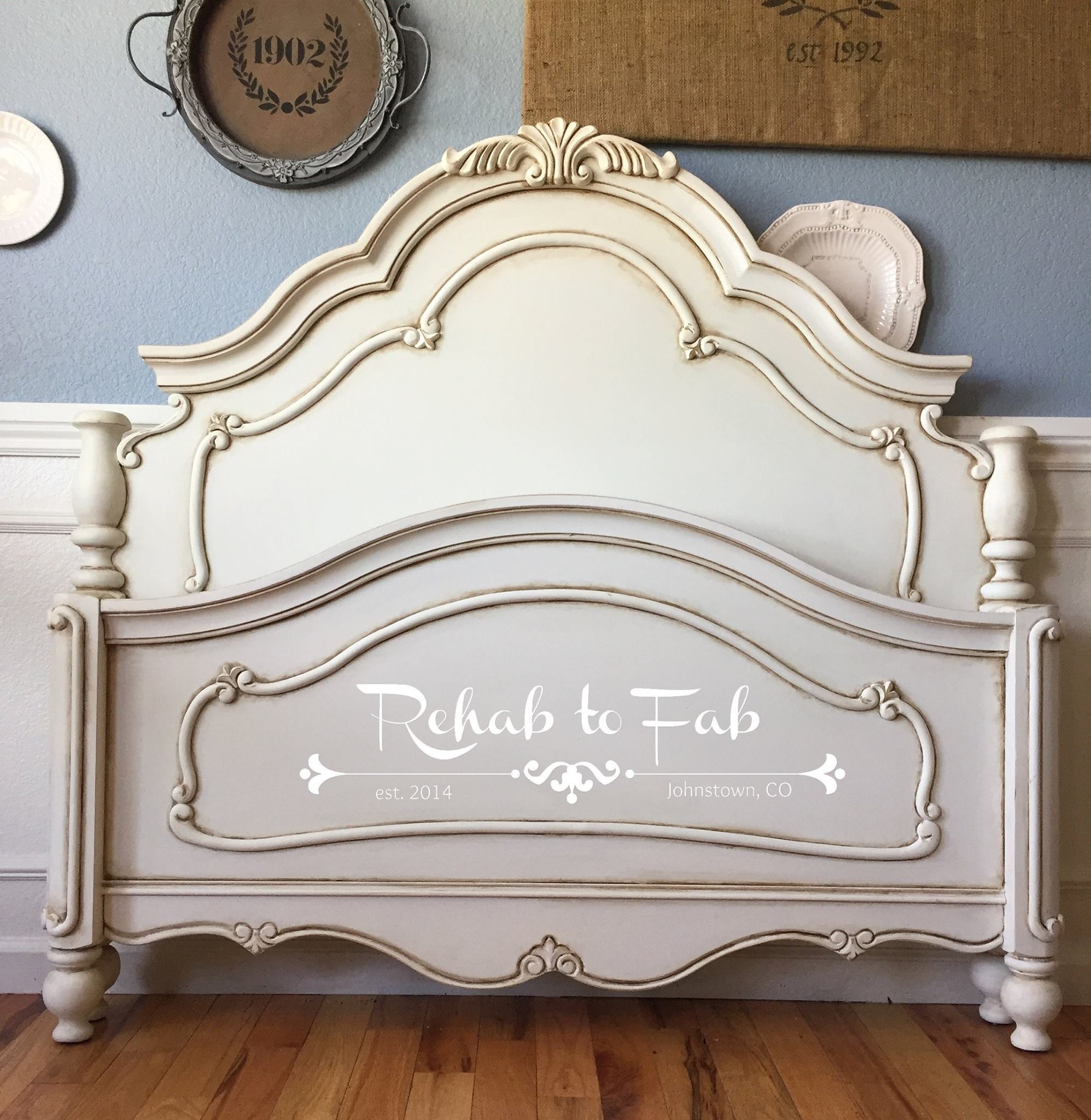 Glazed Antique White Bed Frame General Finishes Design Center