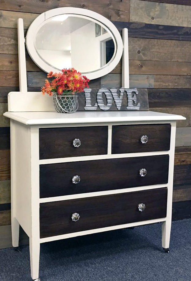 Gel Stain And Antique White Milk Paint Dresser General