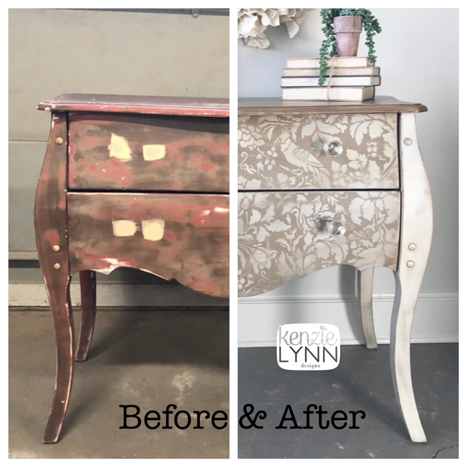 Stenciled Antique White Side Table General Finishes Design Center