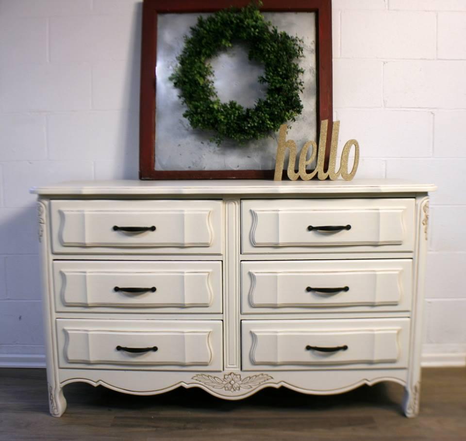 Dresser in Antique White & Van Dyke Brown Glaze.