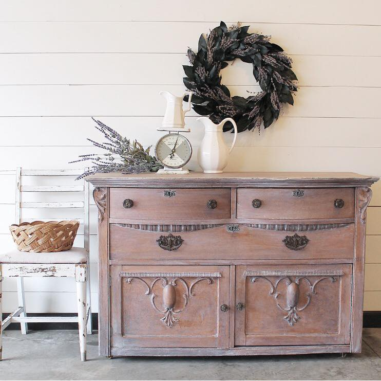 Lovely Buffet Whitewash W/ Antique White