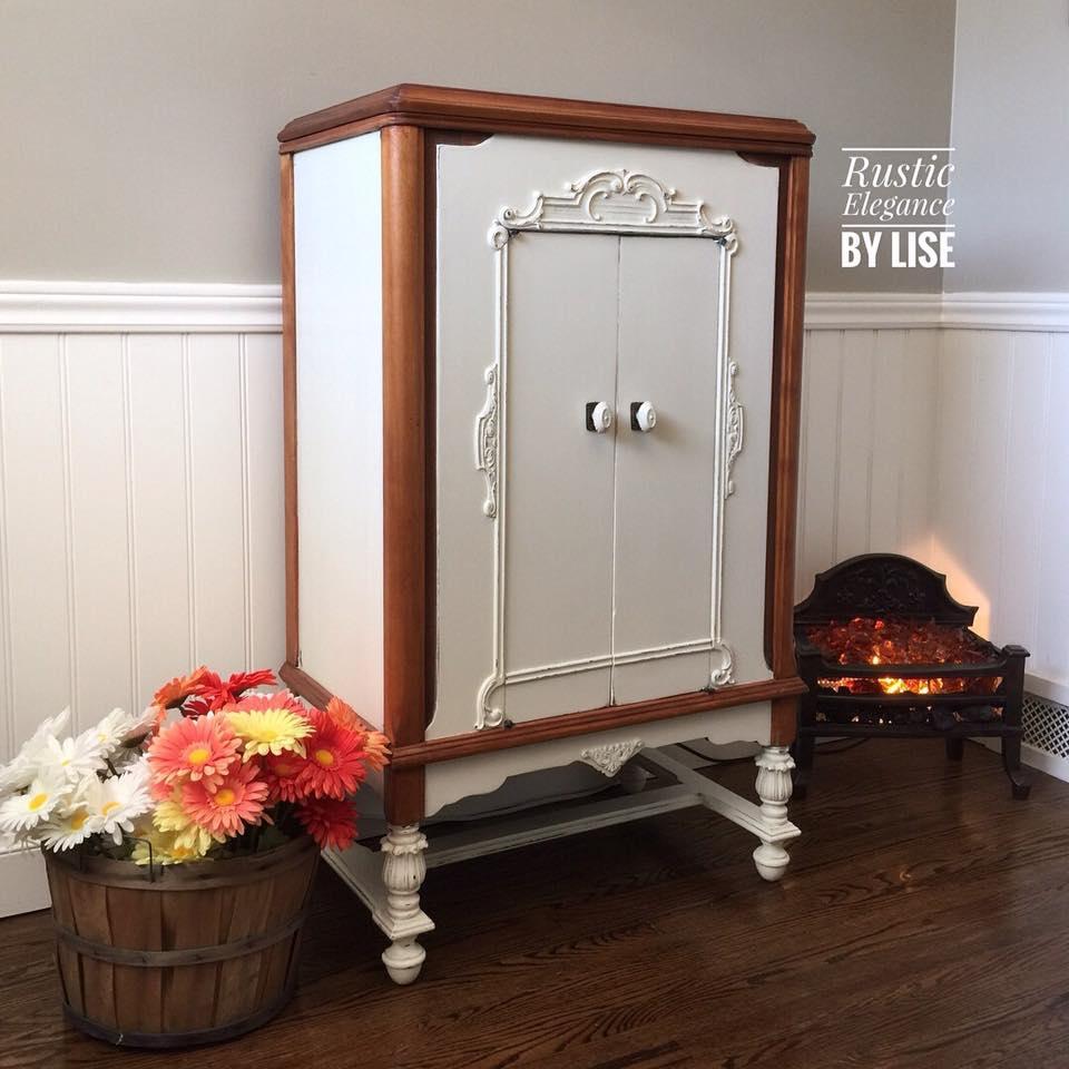 Epoxy Paint Kitchen Cabinets Milk Paint Kitchen Cabinets: Graphophone Cabinet In Antique White Milk Paint