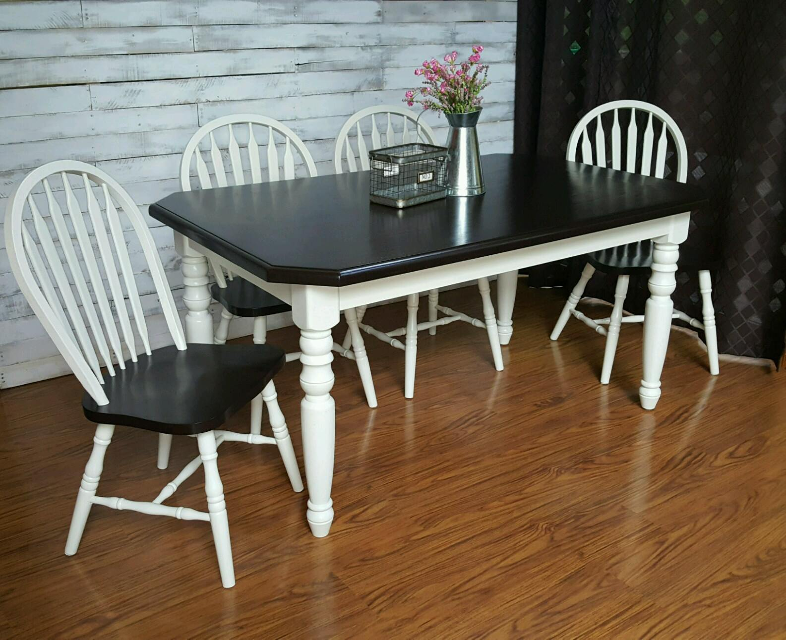 Share? & Farmhouse Table Set in Antique White u0026 Java | General Finishes ...