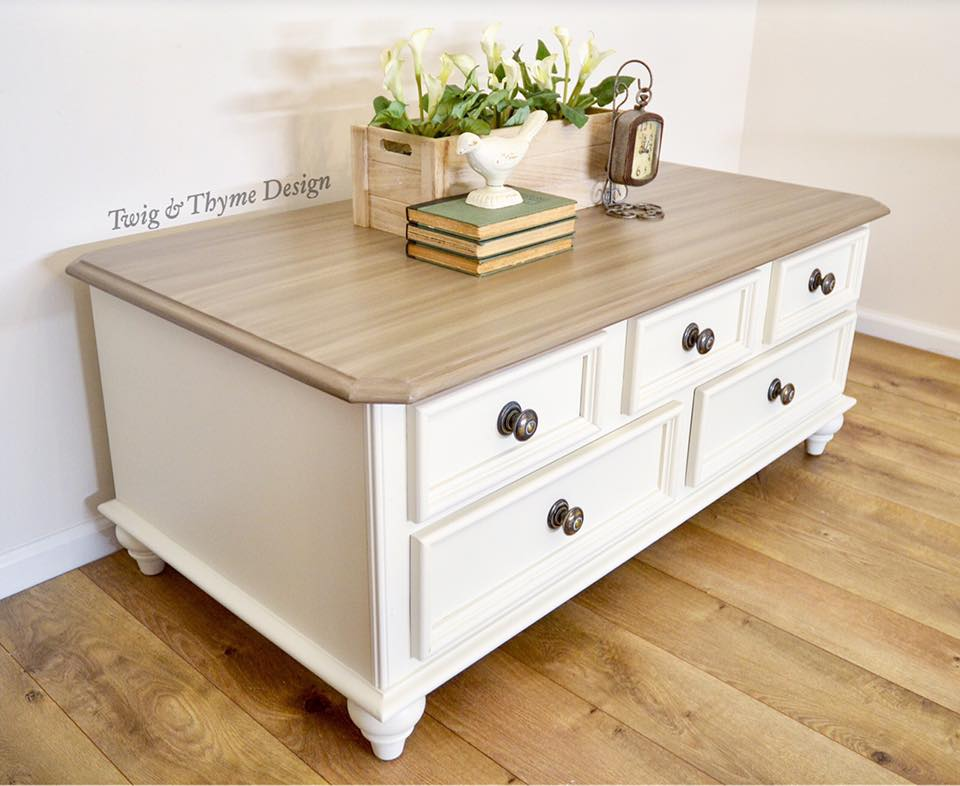 Coffee Table In Antique White Glazing General Finishes