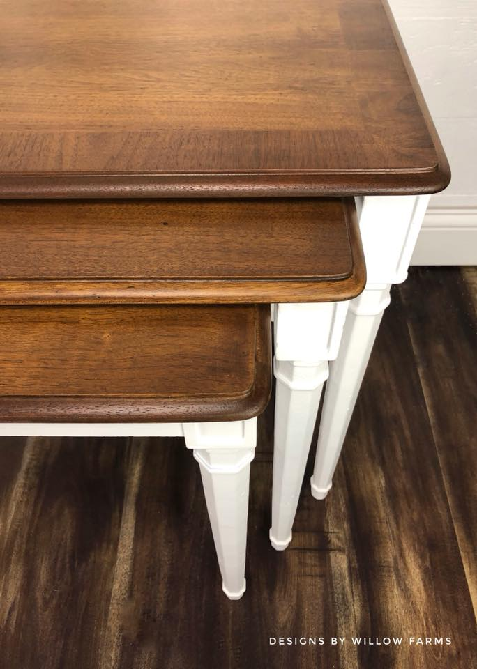 Lovely Nesting Tables in Snow White & Antique Walnut | General Finishes  SD28