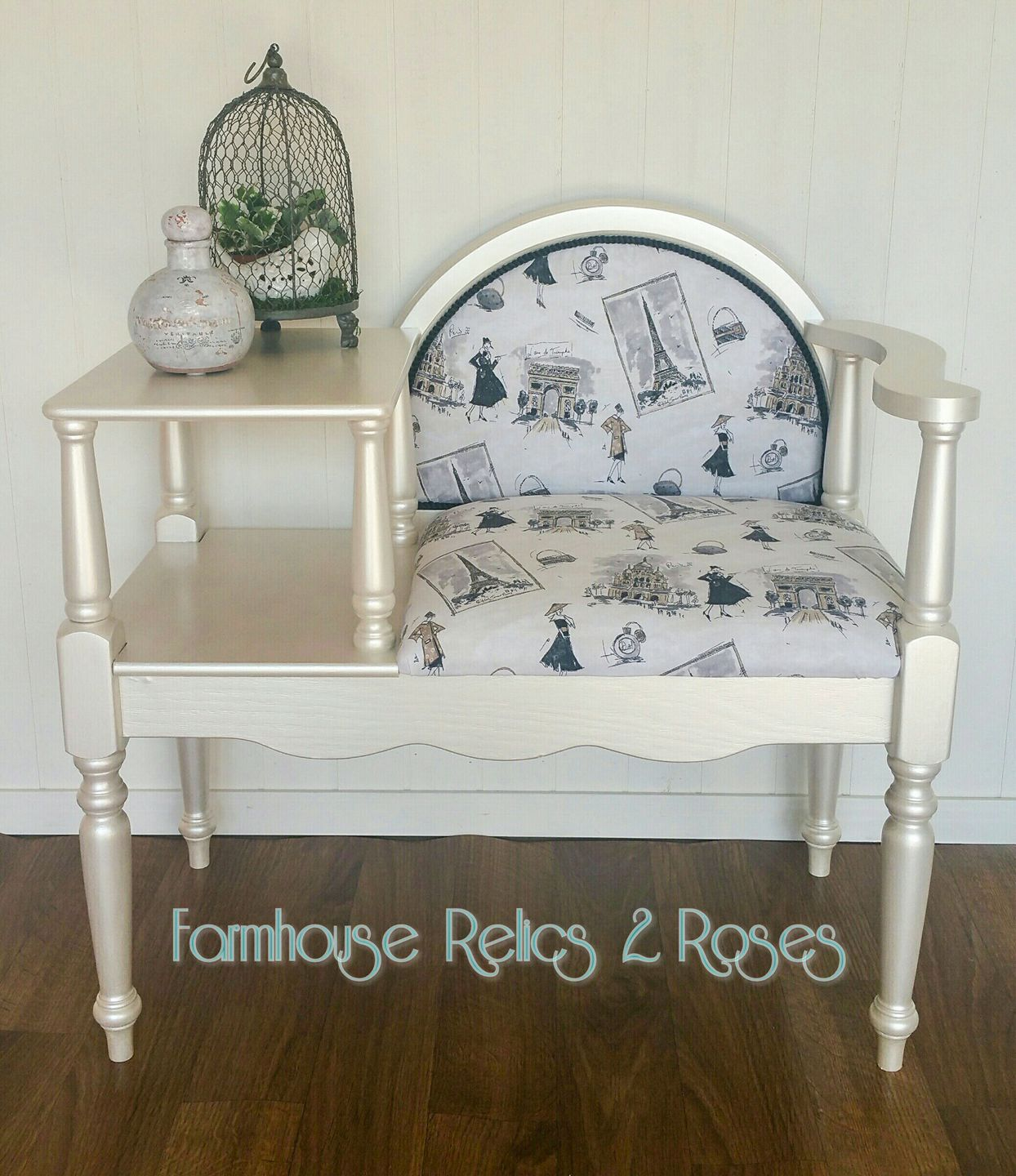 Telephone Table Reimagine With Antique White Pearl Effects