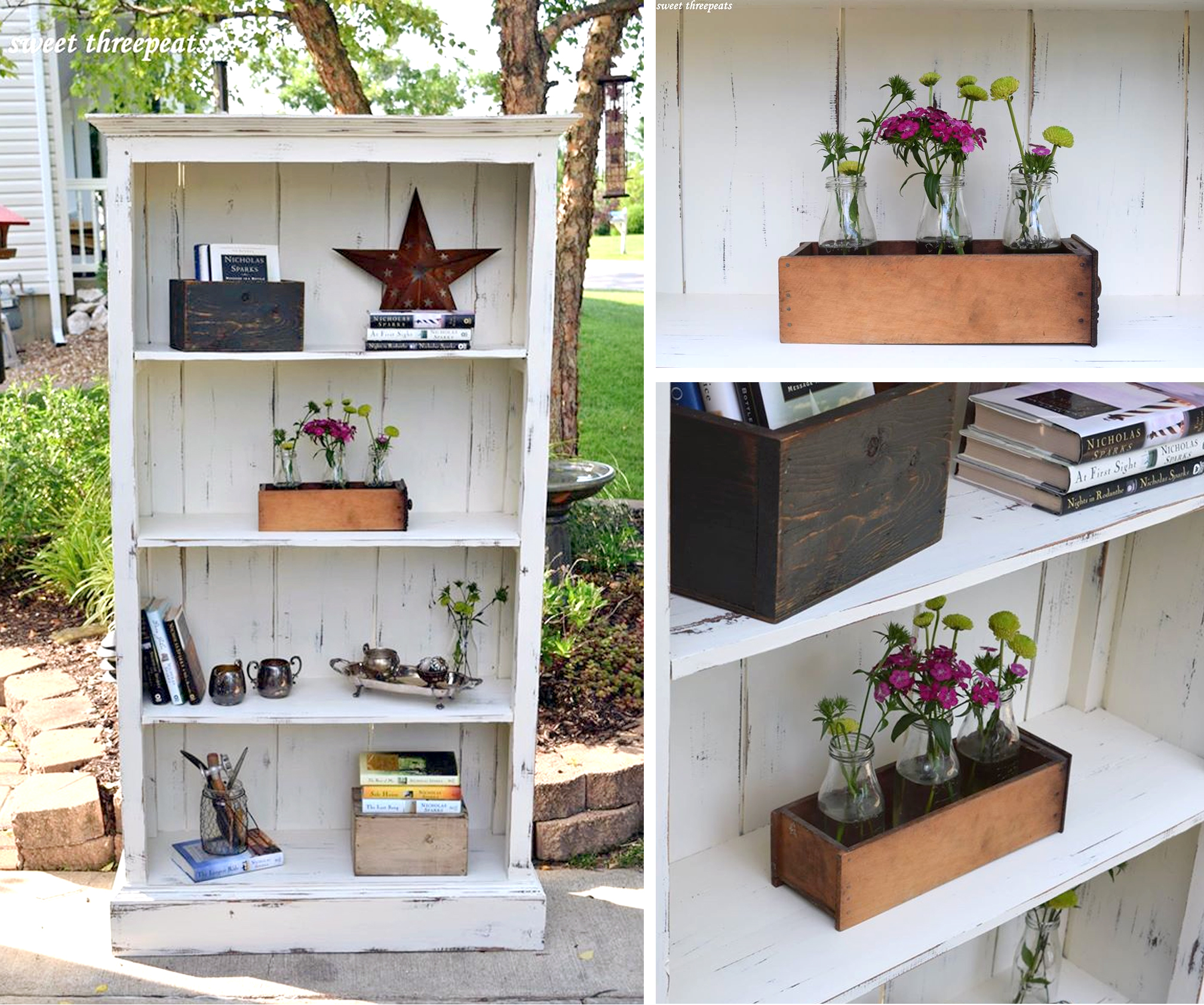 Rustic Farmhouse Bookcase in Antique White