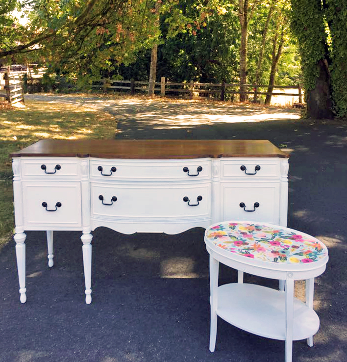 Charming Antique White Buffet And Side Table