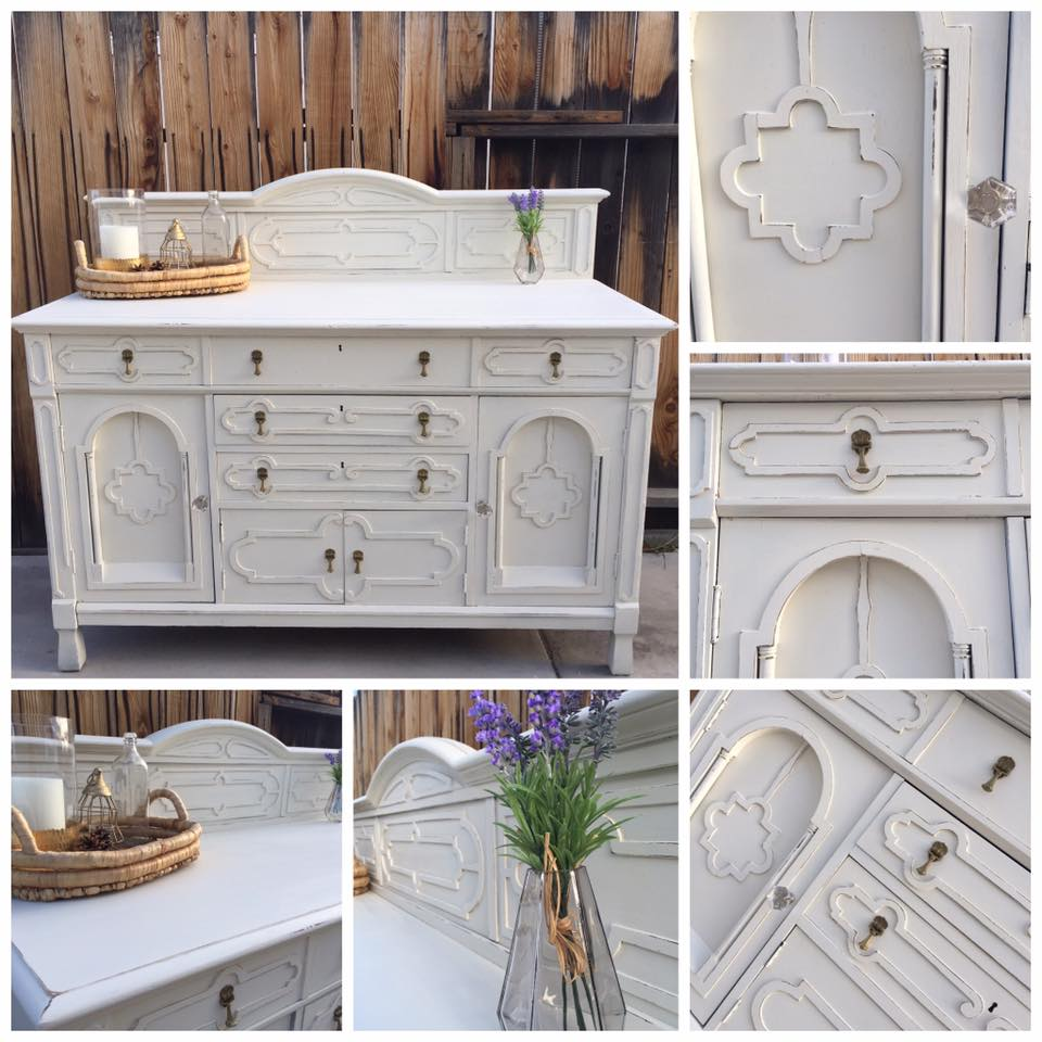 buffet in snow white and antique white milk paint. Black Bedroom Furniture Sets. Home Design Ideas