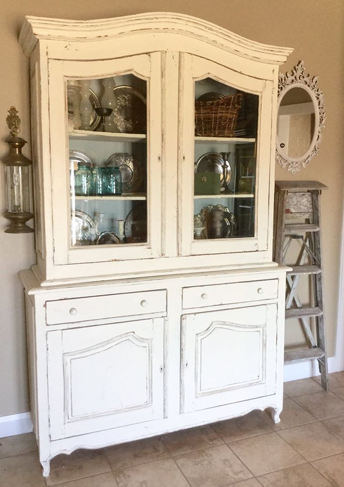 Shabby Chic Antique White Hutch General Finishes Design