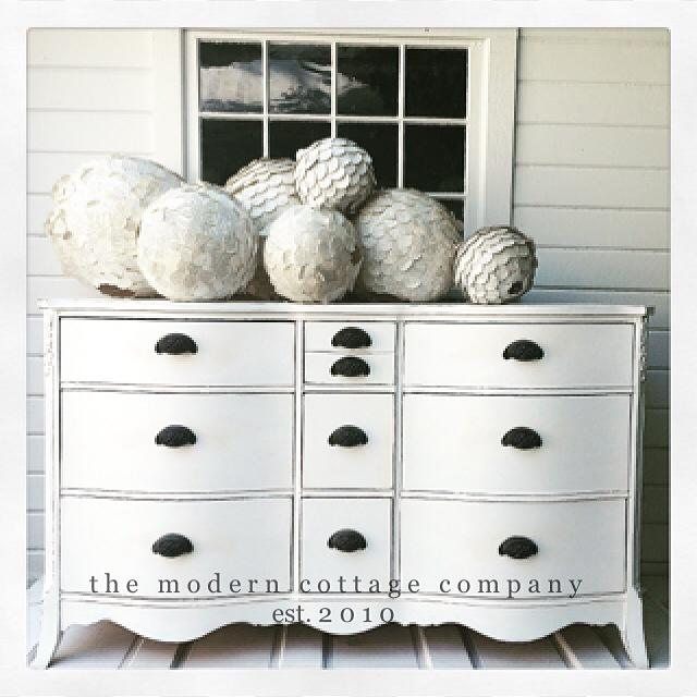 Creamy White Dresser in General Finishes Snow White Milk Paint