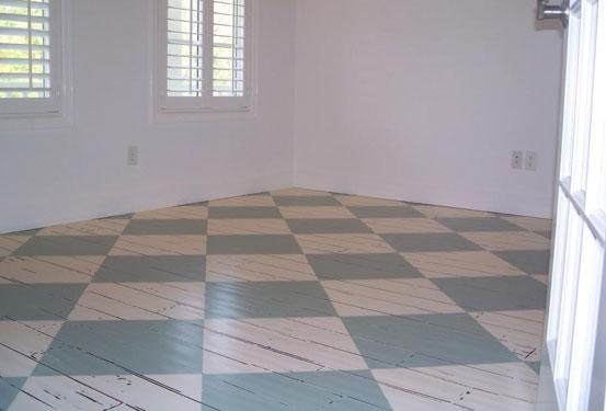 Checkered Flooring In Antique White Milk Paint