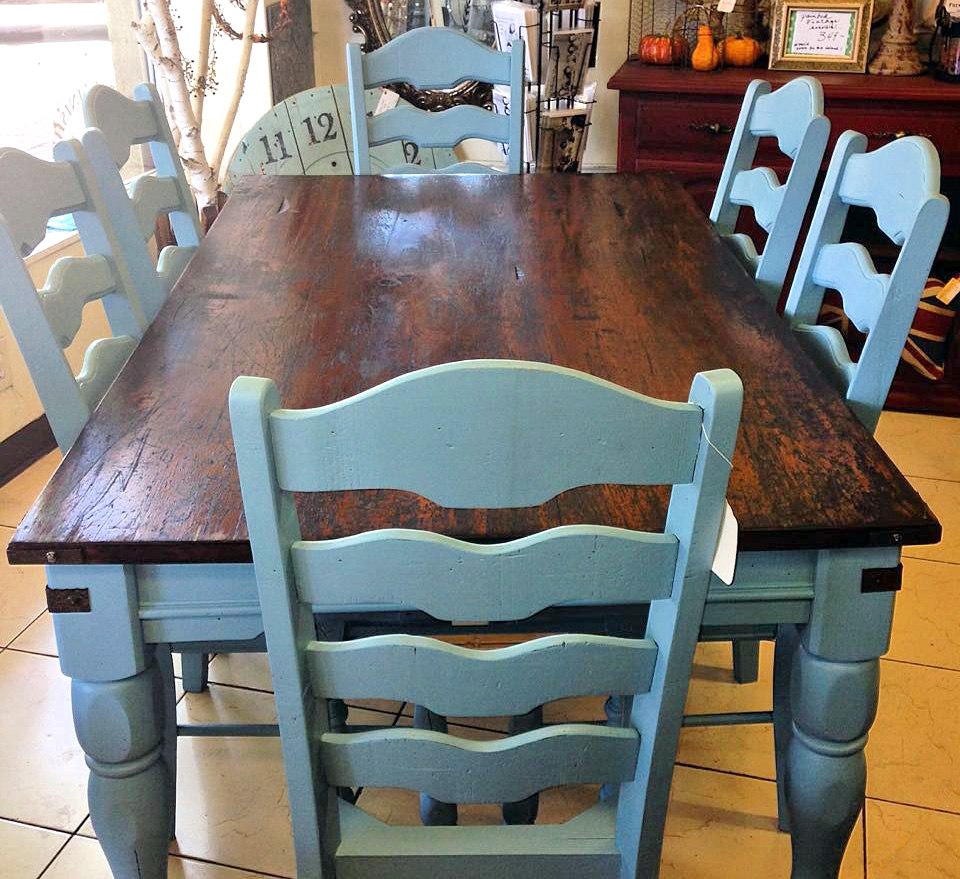 Stunning Halcyon Blue French Country Farmhouse Table