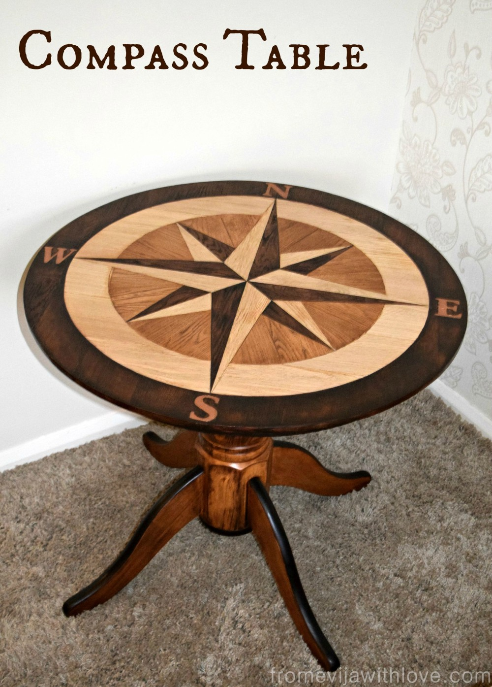 Custom Built Compass Table in American Oak and Java Gel ...