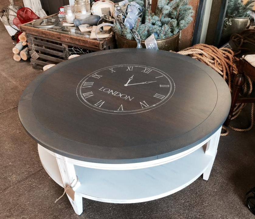 Coffee Table In Gray Gel Stain And Snow White Milk Paint