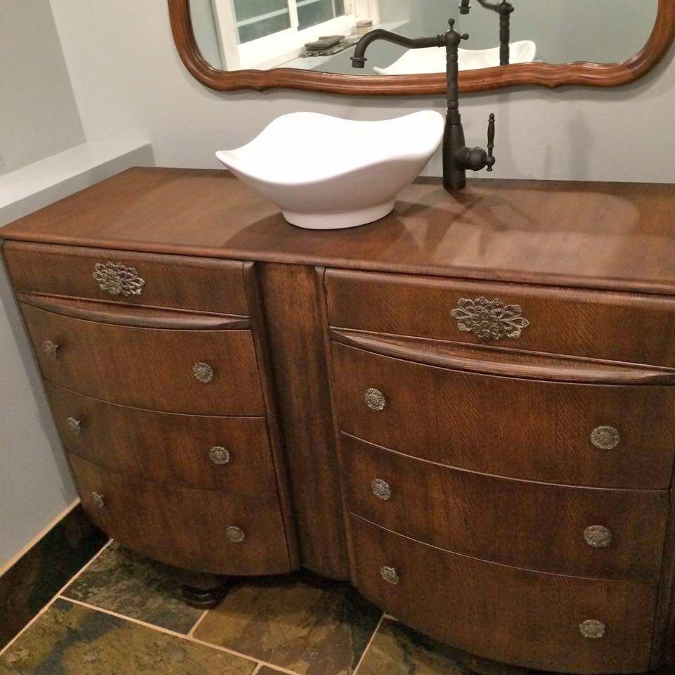 Bathroom Vanity Makeover In Java Gel Stain
