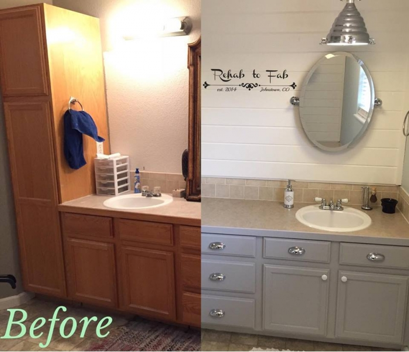 Master Bath Transformation With General Finishes Seagull Gray Milk Paint.