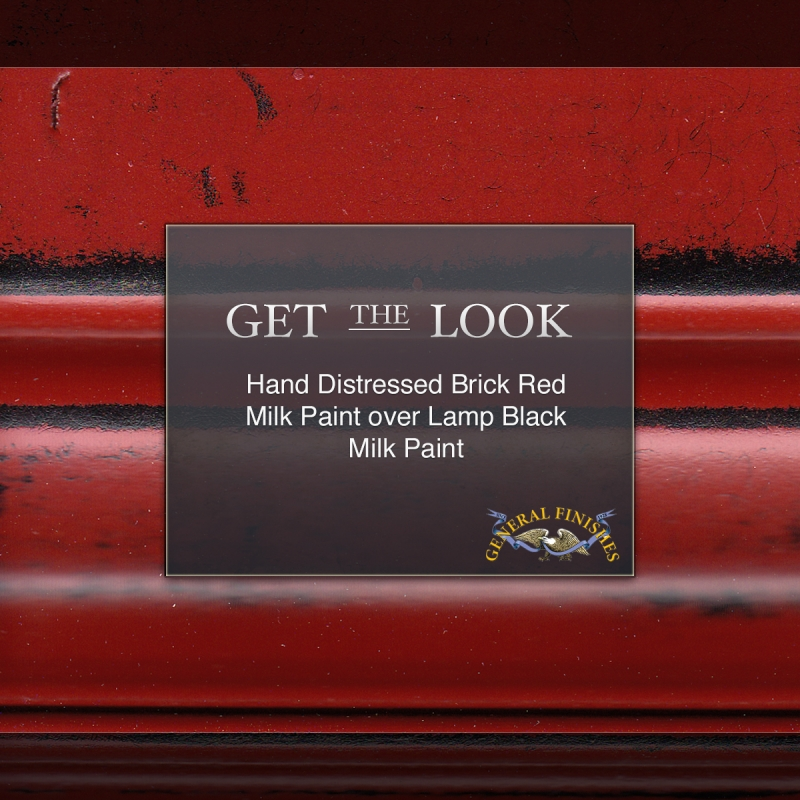 Get The Look Brick Red Hand Distressed Over Lamp Black