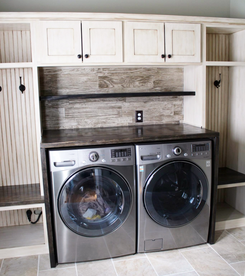 Glazed Antique White Laundry Room Cabinets General Finishes Design Center