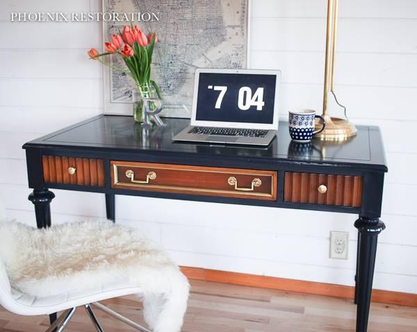 Coastal Blue Lamp Black Custom Mixed Desk General Finishes Design Center