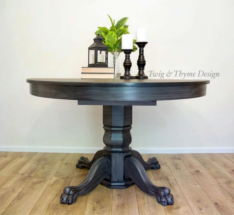 Glazed Driftwood Table With Black Gel Stained Top General Finishes Design Center