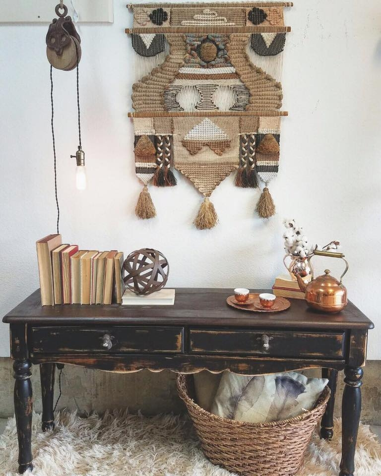 Foyer Layout Java : Distressed entryway table in java and lamp black general