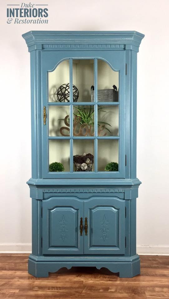 Charleton Blue and Antique White Corner Hutch | General Finishes Design  Center - Charleton Blue And Antique White Corner Hutch General Finishes