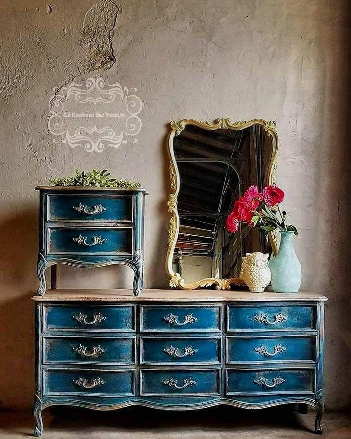 Bedroom Set Polished In Custom Color Blue General
