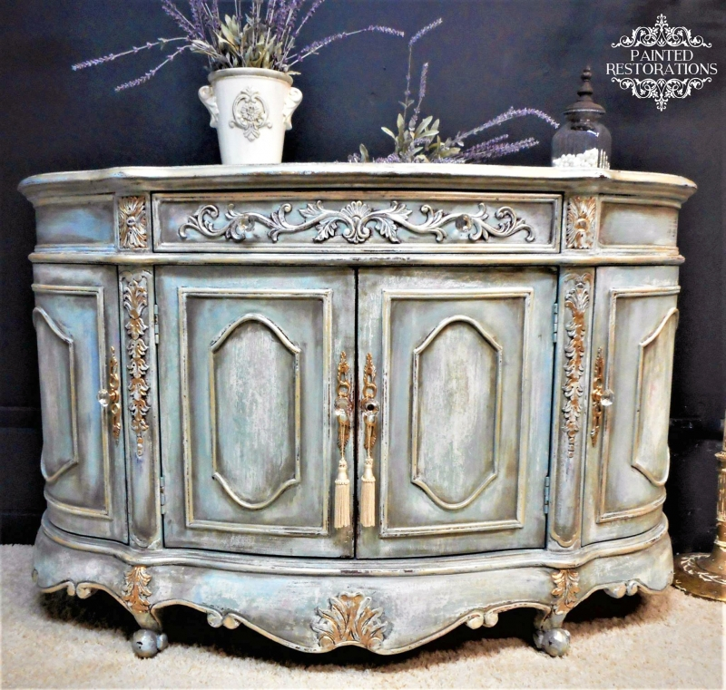 General Finishes Design Center: Persian Blue French Inspired Cabinet