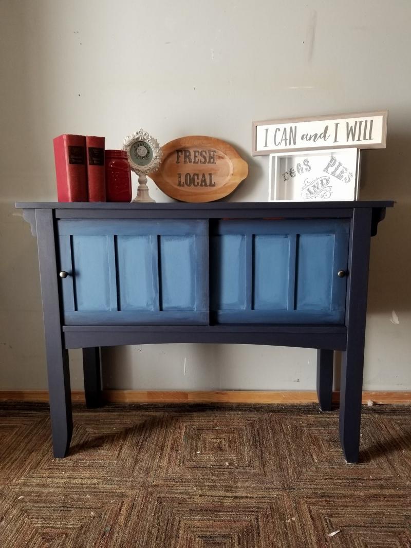 Foyer Paint Finish : Entryway table coasting in coastal blue general finishes