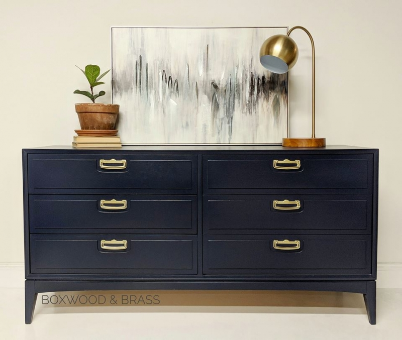 Mid Century Modern Lane 6 Drawer Dresser In Coastal Blue