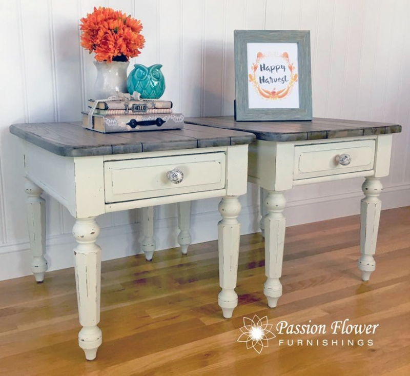 Bone White Chalk Style Paint End Tables General Finishes