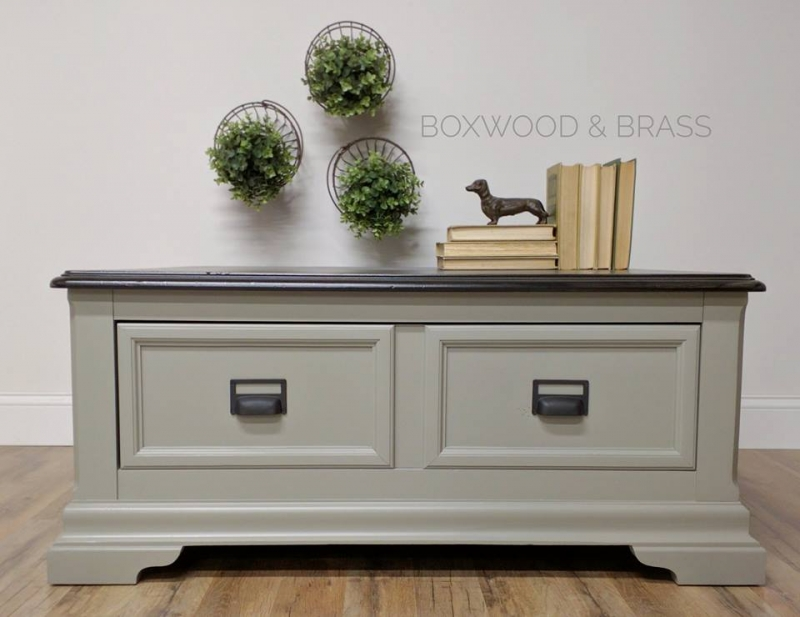 Coffee Table Sprayed In Empire Gray Chalk Style Paint