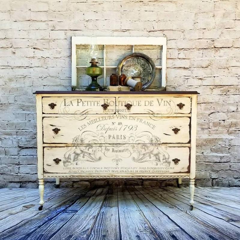 Stunning Dresser Stenciling Over Bone White Chalk Style