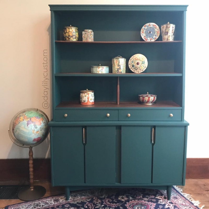 Brexel Hutch In Lime Green Amp Coastal Blue Mix General Finishes Design Center