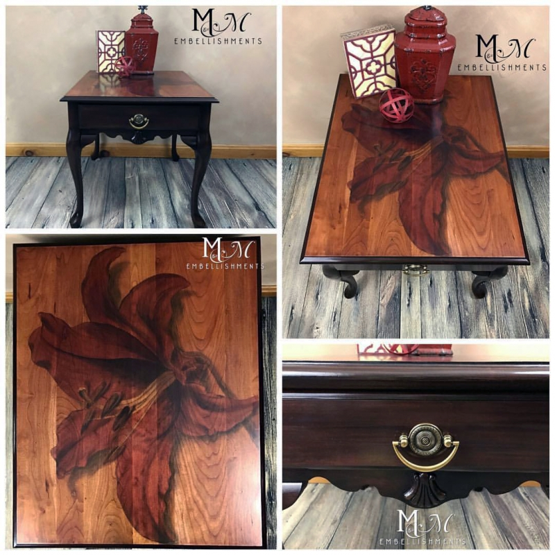 White Wash Gel Stain: Merlot And Ebony Dye Stain Side Table