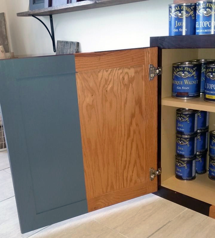 Gray Gel Stained Cabinet Gray General