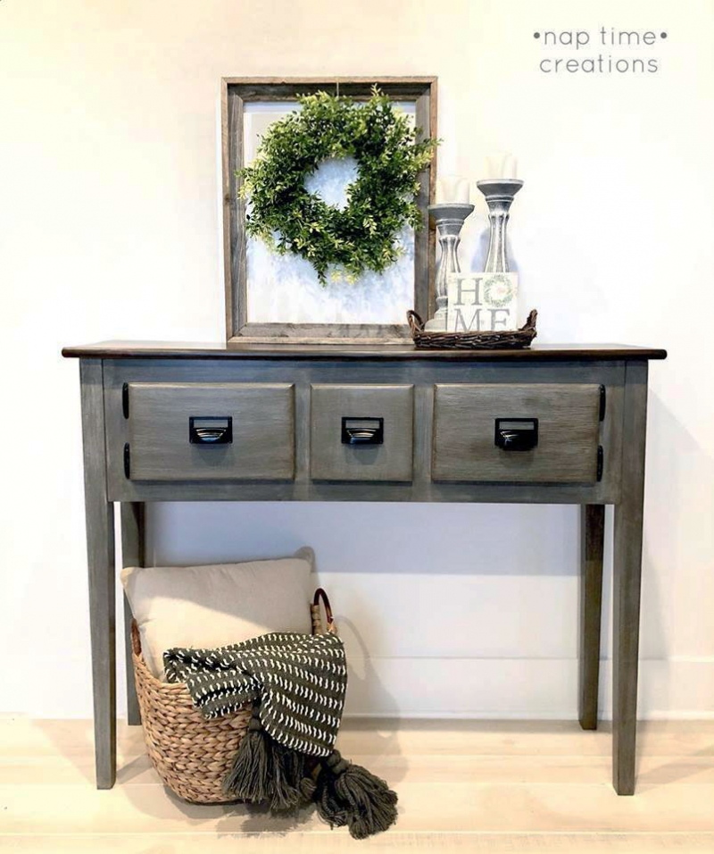 Gray glazed console table general finishes design center for How to mix grey paint